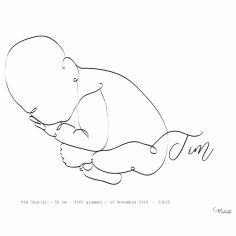 Affiche de naissance Bébé en position foetus A4 (personnalisable)