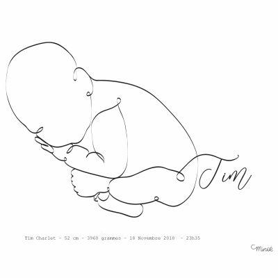 Affiche de naissance Bébé en position foetus A4 (personnalisable)  par Minoé