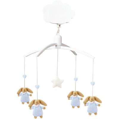 Mobile musical lapin nid d'ange bleu