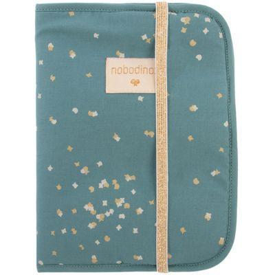 Protège carnet de santé Poema Gold Confetti vert  par Nobodinoz
