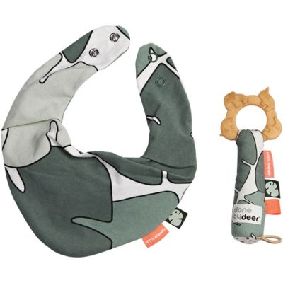 Coffret de naissance bavoir bandana et hochet de dentition Tiny tropics  par Done by Deer