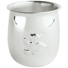 Timbale Ourson personnalisable (métal argenté)