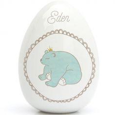 Oeuf en porcelaine ours (personnalisable)
