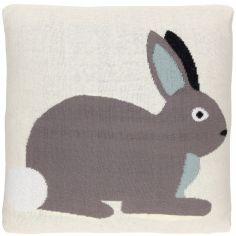 Coussin carré lapin réversible (35 x 35 cm)