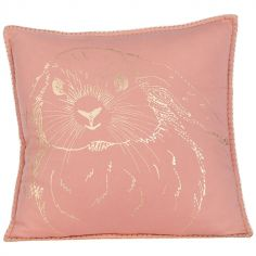 Coussin carré corail lapin Gini (40 x 40 cm)