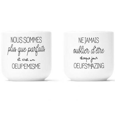 Lot de 2 coquetiers en porcelaine Oeuf'emisme et Oeufs'mazing