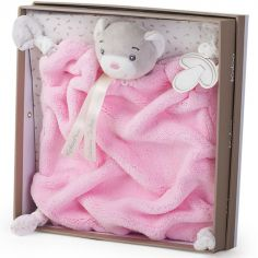 Doudou attache sucette ourson Plume rose (20 cm)