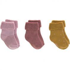 Lot de 3 paires de chaussettes bébé en coton bio rose (pointure 12-14)