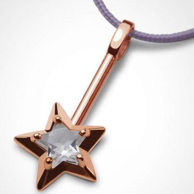 Collier cordon 'Abracadabra' Cristal de roche (or rose 750°)  par Mikado