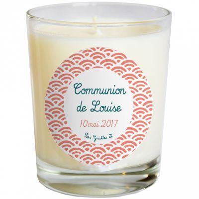 Bougie artisanale communion ou baptême éventail corail (personnalisable)  par Les Griottes