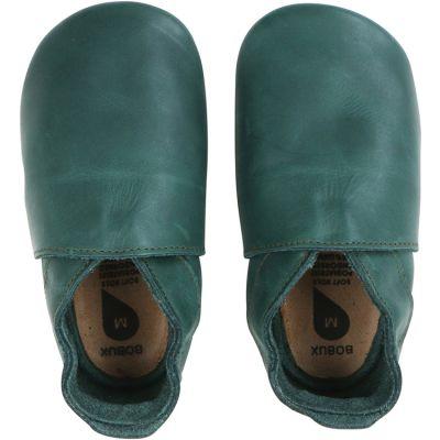 Chaussons bébé en cuir Soft soles Classic vert forêt (3-9 mois)  par Bobux