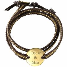 Bracelet cuir maman Indian Marron Small (Plaqué or et cuir)