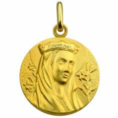 Médaille ronde Vierge au Lys 20 mm (or jaune 750°)