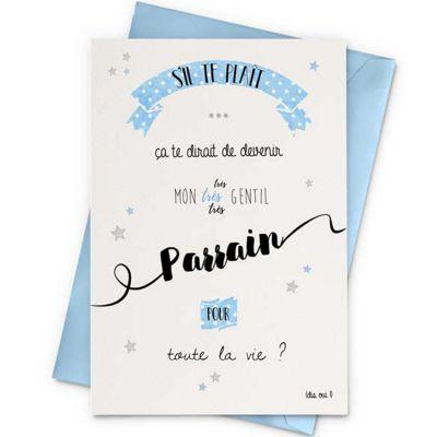 Carte demande de Parrain (10 x 15 cm)  par La Poupette à paillettes