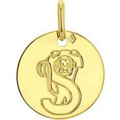 Médaille S comme singe personnalisable (or jaune 750°)