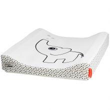 Matelas à langer en tissu déperlant Dots éléphant blanc (50 x 65 cm)  par Done by Deer