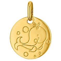Médaille ronde Baleine 14 mm (or jaune 750°)