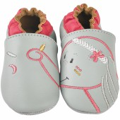 Chaussons cuir Anna gris (0-6 mois) - Noukie's