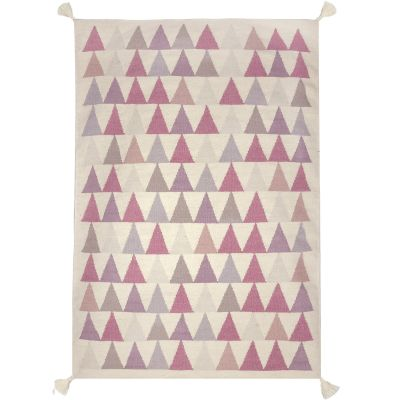 tapis fille kilim rose triangles 140 x 200 cm par art for kids. Black Bedroom Furniture Sets. Home Design Ideas