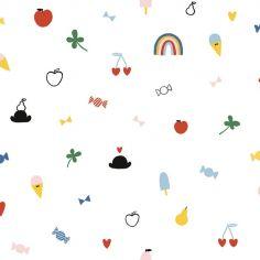 Papier peint intissé glaces, bonbons, pommes, cerises (10 m)