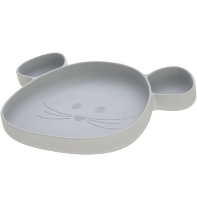 Assiette à compartiments en silicone souris grise Little Chums  par Lässig