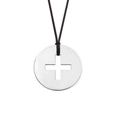Collier cordon mini bijou croix grecque (or blanc 18 carats)  par Maison La Couronne