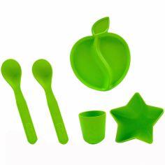 Coffret repas en bambou Premium vert (5 pièces)