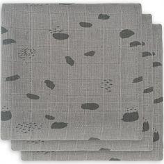 Lot de 3 langes hydrophiles Spot storm grey gris (70 x 70 cm)