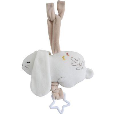 Peluche musicale à suspendre lapin blanc  par Sucre d'orge