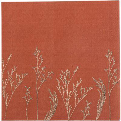 Lot de 16 serviettes en papier Brindilles terracotta  par Arty Fêtes Factory