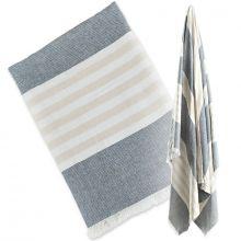 Grande serviette de bain bébé grise et sable (100 x 150 cm)  par Lulujo