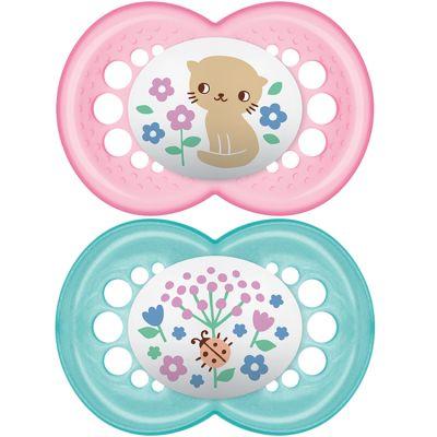 Lot de 2 sucettes anatomiques Décor classique chat et fleurs en silicone (6 mois et +)  par MAM