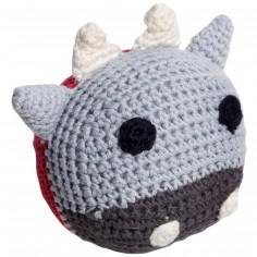 Balle sonore vache en crochet de coton bio (12 cm)