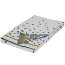 Couverture en coton Jacquard tricotée Happy Dots gris et doré (80 x 100 cm)  par Done by Deer