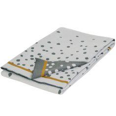 Couverture en coton Jacquard tricotée Happy Dots gris et doré (80 x 100 cm)