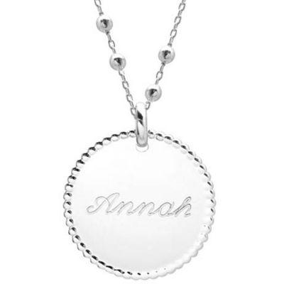 Collier maman médaille et chaîne perlées personnalisable (argent 925°) Petits trésors