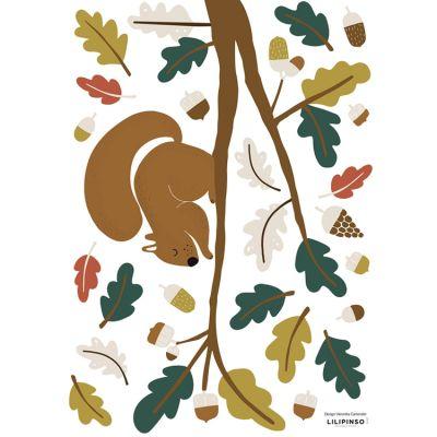 Planche de stickers A3 Ecureuil, feuilles vertes  par Lilipinso