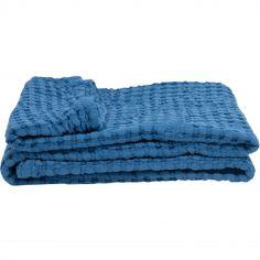 Couverture en coton bio Paros bleue (75 x 100 cm)
