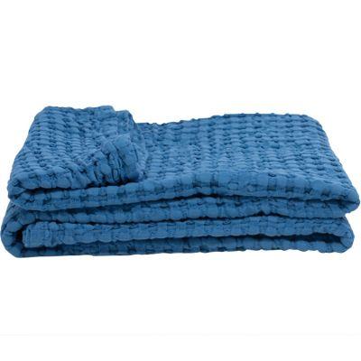 Couverture en coton bio Paros bleue (75 x 100 cm)  par Kadolis