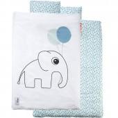 Housse de couette bébé + taie Dots éléphant bleu (100 x 140 cm) - Done by Deer
