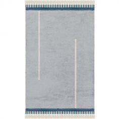 Tapis rectangulaire Happy gris bleu (140 x 200 cm)