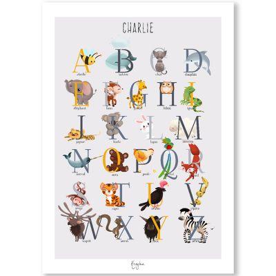 Affiche A3 abécédaire animalier jaune (personnalisable)  par Kanzilue