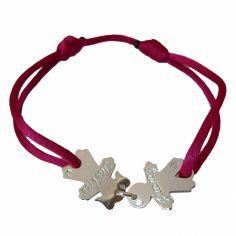 Bracelet cordon 2 enfants 15 mm (argent 925°)