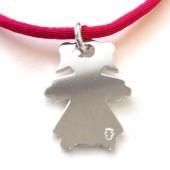 Pendentif petite fille 17 mm sur cordon (argent 925°) - Loupidou