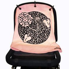 Protection pour poussette Baby Peace coton bio Jungle rose pastel
