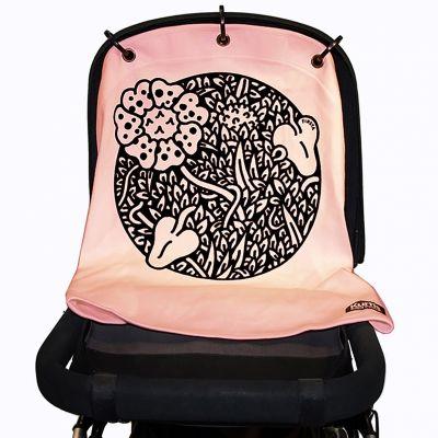 Protection pour poussette Baby Peace coton bio Jungle rose pastel Kurtis
