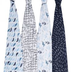 Lot de 4 maxi langes en coton Gone fishing (120 x 120 cm)