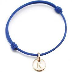 Bracelet cordon 1 charm rond personnalisable (plaqué or)