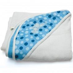 Serviette tablier de bain bleue à pois