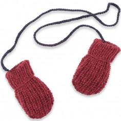 Moufles Fernand tricotées main rhubarbe et marine (12-24 mois : 74 à 86 cm)